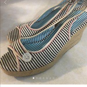 Nautical wedge sandals- Women's size 10